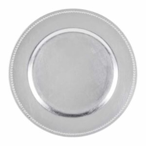 Charger plate beaded - SILVER