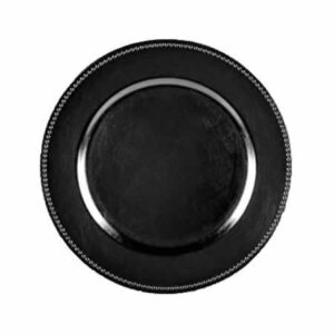 Charger plate beaded - BLACK